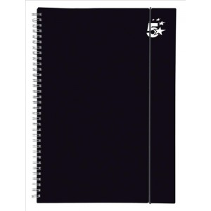 5 Star Notebook Wirebound Polypropylene Elasticated 80gsm A4 Black [Pack 6]