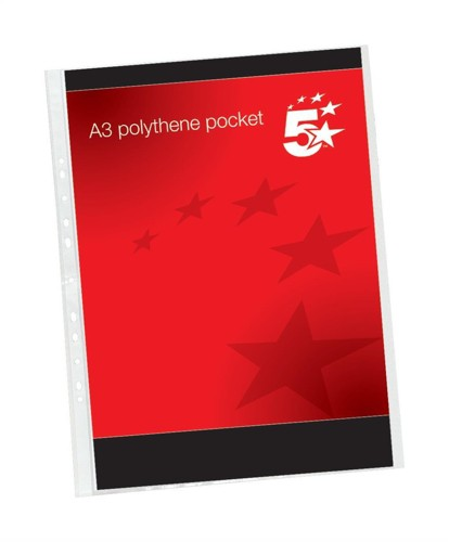 5 Star Punched Pocket Polypropylene Top-opening 120 micron Portrait A3 Ref 4899P10 [Pack 25]
