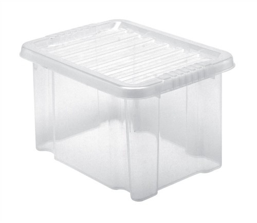 Storage Box Plastic with Lid Stackable 24 Litre Clear