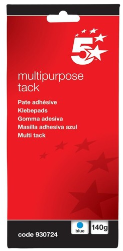 5 Star Multipurpose Tack Adhesive Re-usable Non-toxic 140g Blue [Pack 12]