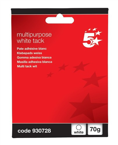 5 Star Multipurpose Tack Adhesive Re-usable Non-toxic 70g White [Pack 12]