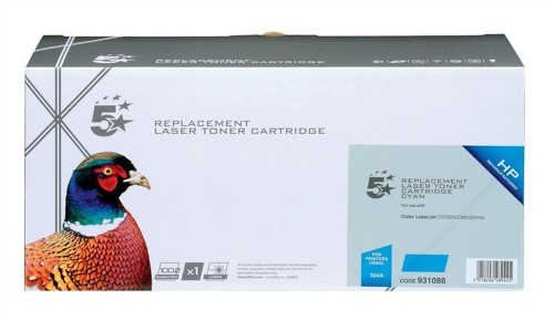5 Star Compatible Laser Toner Cartridge Page Life 2800pp Cyan [HP No. 304A CC531A Alternative]