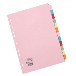 5 Star Subject Dividers Multipunched Manilla Board 12-Part A4 Assorted [Pack 10]