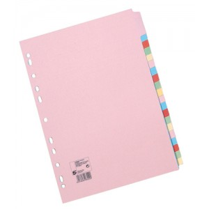 5 Star Subject Dividers Multipunched Manilla Board 20-Part A4 Assorted [Pack 10]