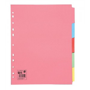 5 Star Subject Dividers Multipunched Manilla Board 5-Part Extra Wide A4 Assorted [Pack 10]