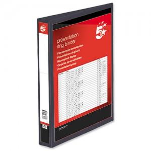 5 Star Presentation Ring Binder PVC 4 D-Ring 25mm Size A4 Black [Pack 10]