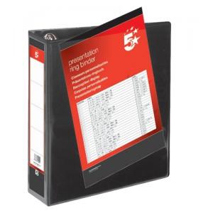 5 Star Presentation Ring Binder PVC 4 D-Ring 65mm Size A4 Black [Pack 10]