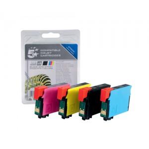 5 Star Compatible Inkjet Cartridges Black/Cyan/Magenta/Yellow [Epson T12954010 Alternative] [Pack 4]