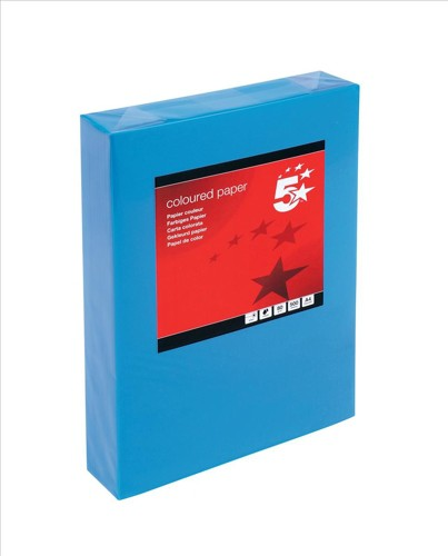 5 Star Coloured Copier Paper Multifunctional Ream-Wrapped 80gsm A4 Deep Blue [500 Sheets]