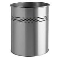 Durable 14.7 Litre Cylinder Metal Bin Silver