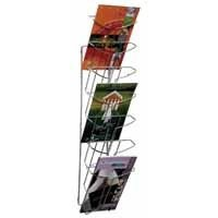 Alba Wall Mounted 7-Tier 7-Pocket Literature Holder A4 Chrome DD7M