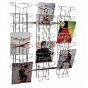 Alba Wall Mounted 7-Tier 21-Pocket Literature Holder A4 Chrome DD21M