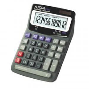 Aurora Grey/Black 12-digit Desk Calculator DT85V