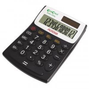 Aurora EcoCalc Semi-Desktop Calculator 12-digit Black EC404