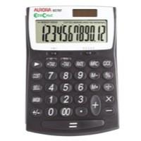 Aurora EcoCalc Large Desktop Calculator 12-digit Black EC707