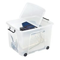 Strata Smart Box 75 Litre on Wheels Clear (Pack of 1) HW676-CLR