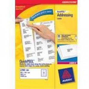 Avery Addressing Labels Laser Jam-free 16 per Sheet 99.1x33.9mm White Ref L7162-500 [8000 Labels]