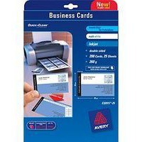 Avery Quick and Clean Business Card Satin White Laser 85x54mm 10TV Pk 25 C32026-25