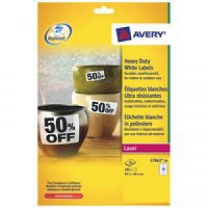 Avery Laser Label 99.1x38.1mm Heavy Duty 14 per Sheet Pack of 20 White L7063-20
