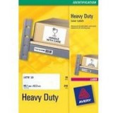 Avery Laser Label Heavy Duty 21 per Sheet Pack of 20 White L7060-20