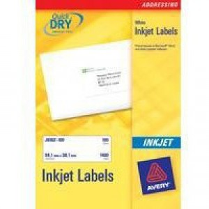 Avery QuickDRY Inkjet Label 63.5x38.1mm 21 per Sheet Pack of 25 J8160-25