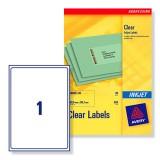 Avery Clear Inkjet Label A4 1 per Sheet Pack of 25 J8567-25