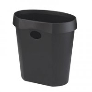 Avery DR500 Waste Bin with Rim Flat Back 18 Litres W350xD250xH340mm Black Ref DR500BLK
