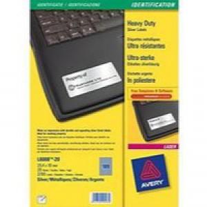 Avery Heavy Duty Labels Laser 189 per Sheet 25.4x10mm Silver Ref L6008-20 [3780 Labels]