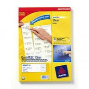 Avery Clear Inkjet Label 99.1x38.1mm 14 per Sheet Pack of 25 J8563-25