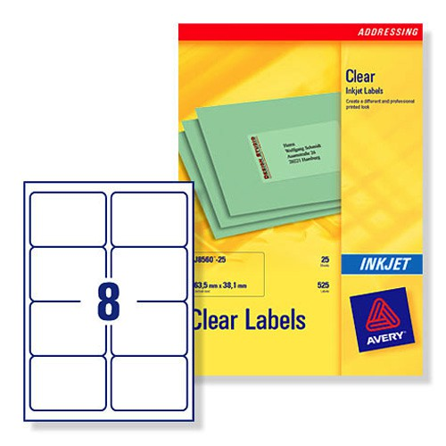 Avery Clear Inkjet Label 99.1x67.7mm 8 per Sheet Pack of 25 J8565-25
