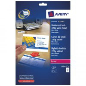 Avery Quick And Clean Colour Laser Satin Business Card 10TV 220gsm Bright White Pack 25 Sheets