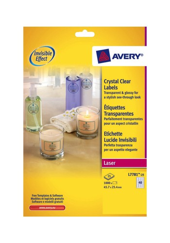 Avery Clear ID Laser Label 45.7x25.4mm Pack of 25 L7781-25