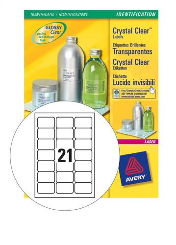 Avery Clear ID Laser Label 63.5x38.1mm Pack of 25 L7782-25