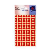 Avery Packets of Labels Diam.8mm Red 520 Labels Per Pack Code 32-301
