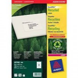 Avery Recycled Laser Label White Address 99.1x67.7mm Pack of 100 LR7165-100