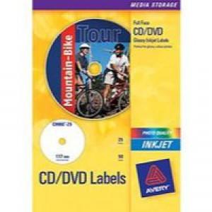Avery Photo Glossy Inkjet CD/DVD Label 2TV Pack of 25 White C9660-25