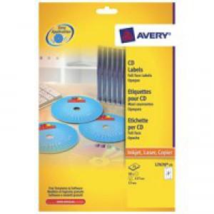 Avery Full Face CD/DVD Laser Label Pack of 25 L7676-25