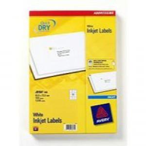 Avery QuickDRY Inkjet Label 63.5x72mm 12 per Sheet Pk 100 White J8164-100