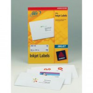 Avery QuickDRY Addressing Labels Inkjet 2 per Sheet 199.6x143.5mm White Ref J8168-100 [200 Labels]