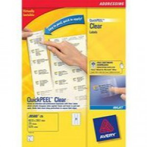 Avery Clear Laser Label 99.1x67.7mm 8 per Sheet Pack of 25 L7565-25