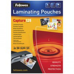 Fellowes Laminating Pouch A4 250micron Pack of 100 Capture 5307401