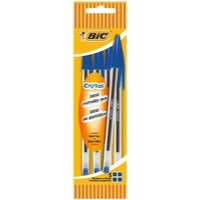 Bic Blue Cristal Medium Ball Point 4 Pen Pouch (Pack of 10) 8308601