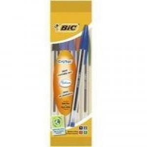 Bic Cristal Medium Ballpoint Pen Assorted Pouch of 4