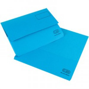Elba Bright Manilla Document Wallet 290gsm Foolscap Blue 100090140