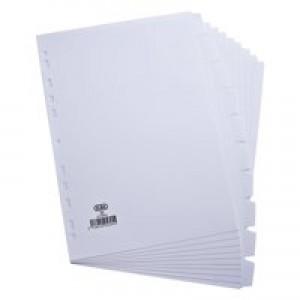 Elba Card Divider A4 10-Part 160gsm White 100204881