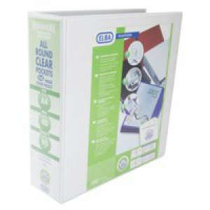 Elba White A4 Pres 4D 65mm Binder Pk4