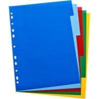 Elba A4 Colour Polypropylene Divider 5-Part Assorted 100205075