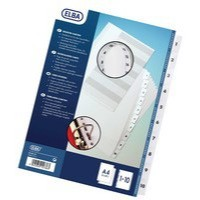 Elba Index Mylar-reinforced Europunched 1-10 Clear Tabs A4 White Ref 100204615