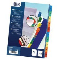 Elba A4 Extra-Wide Mylar Multi-Coloured Index 1-10 100204626