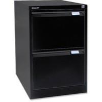 Bisley 2-Drawer Filing Cabinet Lockable Black Flush Fronted BS2E